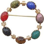 Signed AMCO Genuine Stone Scarabs 14k Gold Filled Vintage Circle Pin