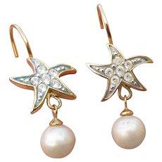 Joan Rivers Vintage 1990's Dangle Faux Pearl & Rhinestone Star Fish Lever Back Earrings