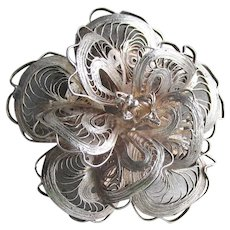 Early Mexican FINE Sterling Silver Filigree 3-D Flower Pin