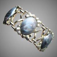 Vintage 1954 Signed CORO Pegasus Wide Swirled Lucite Bracelet