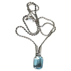 Big Beautiful Square Blue Topaz 1980's Vintage Sterling Silver Pendant Necklace