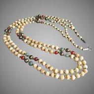 "1970's Vintage 36"" Long Carved Bone, Serpentine & Carnelian Bead 2 Strand Hippie Necklace"