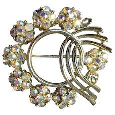 Signed LISNER Aurora Borealis Rhinestone FLOWERS & Bow Vintage Circle Pin