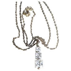 Sterling Silver Stacked Emerald Cut CZ Vintage Pendant Necklace