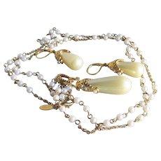 Nolan Miller VIENNA Faux Pearl & Rhinestone Long Vintage Necklace & Dangle Earrings Set