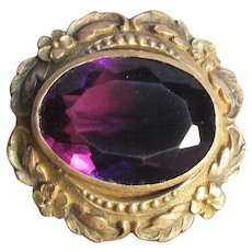 Antique Victorian Rolled Gold Amethyst Glass Pin