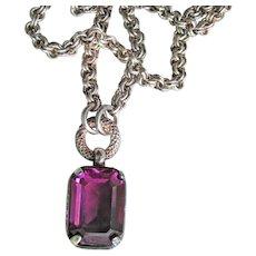 Sterling Silver Emerald Cut Genuine Amethyst Vintage Necklace