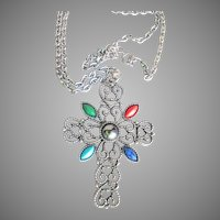 Vintage Avon Large Silver Tone & Faux Turquoise, Coral CROSS Necklace