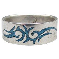 Man's Sterling Silver Inlaid Turquoise Chip DRAGON Biker Band Ring, Size 12