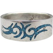 Men's Sterling Silver Inlaid Turquoise Chip DRAGON Biker Band Ring, Size 12