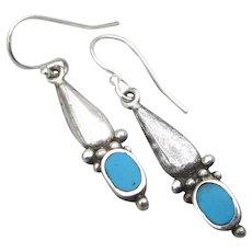 Delicate Slender Sterling Silver & Turquoise Dangle Earrings
