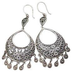 Big Beautiful Vintage Thai Sterling Silver Chandelier Earrings