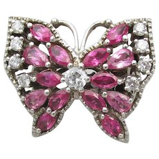 Large Sterling Silver Pink & Purple CZ BUTTERFLY Ring, Size 7