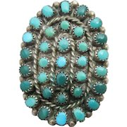 Early Zuni Old Pawn Massive Petit Point Sterling Silver Turquoise Ring, Size 7