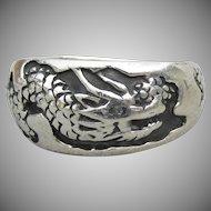 Men's DRAGON Sterling Silver Biker Band Ring, Size 14