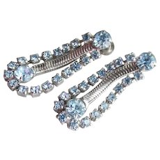 Early CORO Retro Blue Rhinestone & Silver Tone Chain Dangle Earrings