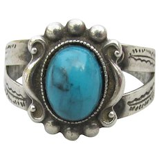 Signed Tip Top Sterling Vintage Turquoise Ring, Size 6 1/2