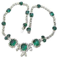 Kramer NY Signed Emerald Green Rhinestone Vintage Necklace