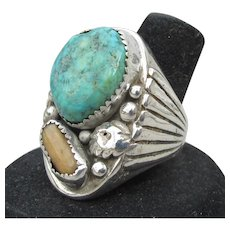 Massive Mens Dead Pawn Navajo Native American Sterling Silver Turquoise Ring, Size 11