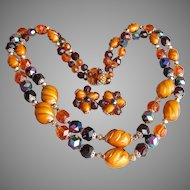 Amber LUCITE Bead Vintage Double Strand Necklace & Earrings Set, West Germany