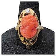 Antique Art Nouveau 10K Gold Salmon Coral Cameo & Diamond Ring