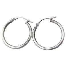 """Classic Plain Sterling Silver Vintage Snap Top 1"""" Pierced Hoop Earrings"""