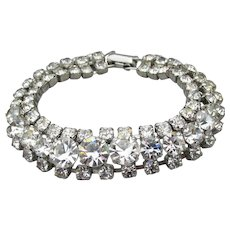Early CORO Vintage WEDDING Crystal Rhinestone Silver Tone Bracelet, Size Large 7 3/4""