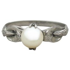 1920's Vintage Art Deco 18k White Gold Cultured Pearl Ring