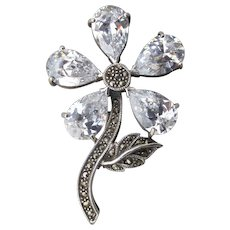 Large Signed Sterling Silver Rock Crystal & Marcasite Vintage Flower Pin
