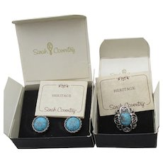 Mint In Box! Sarah Coventry HERITAGE Ring & Earrings Set, 1976 Faux Turquoise
