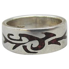 Vintage Native American Sterling Silver Inlaid Coral Chip DRAGON Band Ring, Size 6.5