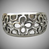 Sterling Silver Wide Vintage Open Work FLOWER Band Ring, Size 9