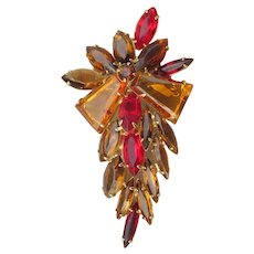 Juliana D&E Shades of Topaz & Ruby Tapered Baguette, Navette Rhinestone Pin