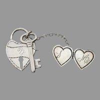 Edwardian Antique Sterling Silver Chatelaine Sweetheart Pin, Heart Lock & Key