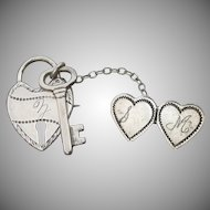 Edwardian Antique Sterling Silver Chatelaine Sweetheart Pin, Heart Lock & Key