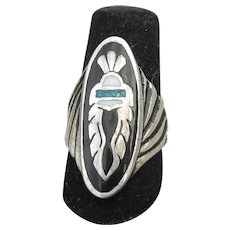 Signed G&S Vintage 1986 Native American HOPI Sterling Silver Inlaid Turquoise Ring, Size 6