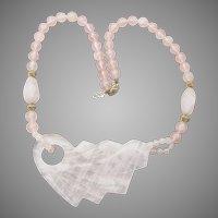 Natural Rose Quartz Bead Vintage Gold Filled Necklace, Large Leaf Pendant