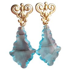 MASSIVE 1980's Turquoise Blue Lucite Chandelier Prism Dangle Clip Earrings