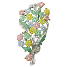 1930's Vintage Enamel & Pastel Celluloid Flower Rhinestone Bouquet Pin