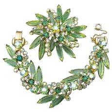 Vintage Juliana D&E Mint Green Navette Rhinestone Bracelet & Pin Set