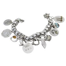 Vintage 1960's American Sterling Silver 11 Charms Double Link Hearts Bracelet