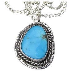 1970's Vintage Navajo Sterling Silver Turquoise Native American Pendant Necklace