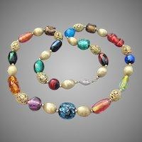 Gorgeous Vintage 1950's Venetian FOIL Glass Bead Sterling Chain Necklace