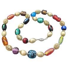 1950's Vintage Venetian FOIL Glass Bead Sterling Chain Strung Necklace