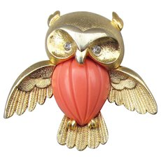1960's Vintage Signed Marcel Boucher OWL Coral Lucite Pin