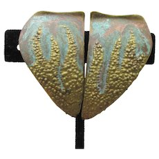 Large Verdigris Copper & Brass 1980's Vintage Earrings