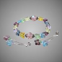 Artisan Swarovski Butterfly Pastel Crystal Sterling Silver Bracelet & Earrings Set