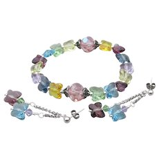 Artisan Swarovski Butterfly Pastel Crystal Sterling Silver Bracelet & Earrings Set