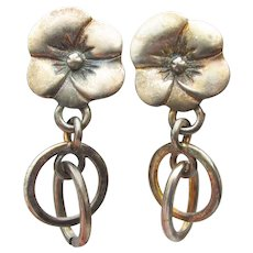1980's Vintage PANSY Flower Dangle Pewter Earrings, NEW Old Store Stock