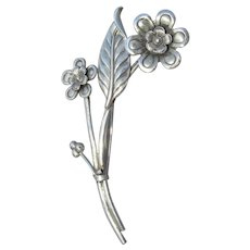 Signed CORO Sterling Silver 1940's WWII Long Stemmed Flower Bouquet Pin